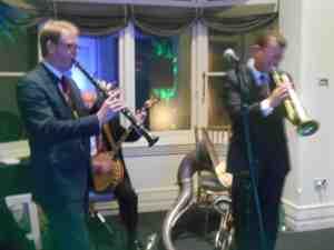 A band instrumental, Chinatown My Chinatown, the birthday host's request. Ben Jones reeds, Grahame Conlon banjo and Geoff Power trumpet.