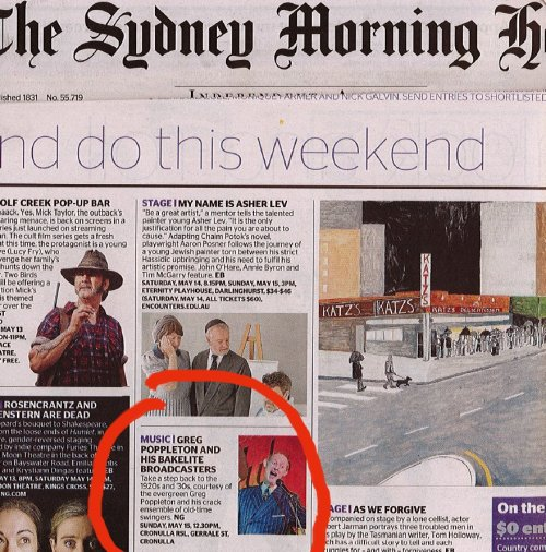 Greg Poppleton and the Bakelite Broadcasters at Cronulla Sunday Jazz were one of the weekend must-sees picked by the Sydney Morning Herald.