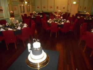 The 1920s Greg Poppleton and the Bakelite Broadcasters party room and cake in the small ballroom of the historic Carrington Hotel Katoomba