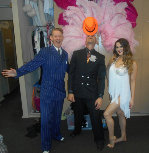 Greg Poppleton 1920s Singer, Finhead juggler, Angelique acrobat backstage at the Gin Mill Social 16 Sep 16.