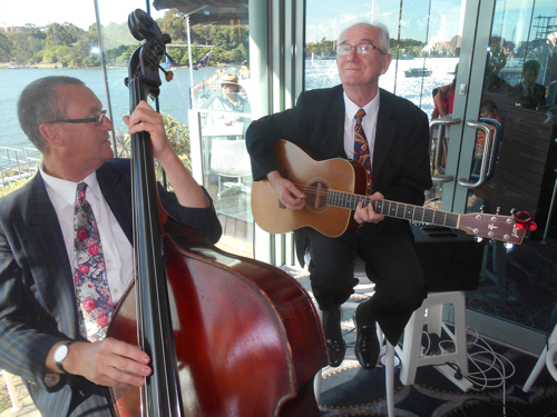 Grahame Conlon and his Spanish guitar with Dave Clayton on double bass