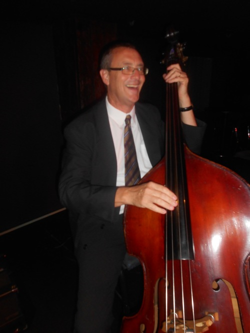 The brilliant Dave Clayton on double bass. He also scats, sings Yes, We Have No Bananas, and plays air drums. He be back with Greg Poppleton and the Bakelite Broadcasters at the Builders, Sun 16 April.