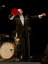 Greg Poppleton 1920s singer on stage at Great Gatsby cocktail party. Greg Poppleton and the Bakelite Broadcasters Photo: MOBILE NO. 0425292809 EMAIL: michael@hennos.com