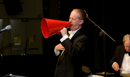 Greg Poppleton 1920s singer with megaphone. Greg Poppleton and the Bakelite Broadcasters Photo: MOBILE NO. 0425292809 EMAIL: michael@hennos.com