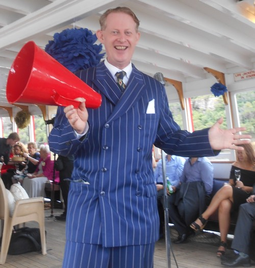 Greg Poppleton 1920s singer at Stephanie's and Jared's Sydney Harbour wedding ferry cruise.