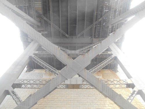 I looked up and took this snap strolling under the Sydney Harbour Bridge on my way to the wedding ferry.
