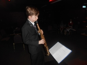 Damon Poppleton on soprano sax in Greg Poppleton's 1920s-30s Band