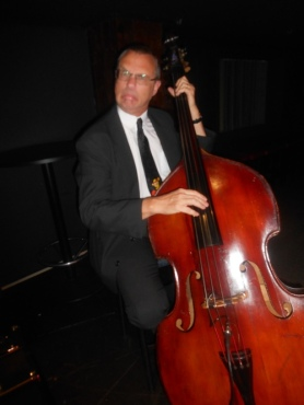 Greg Poppleton double bassist Dave Clayton pulls a face at The Builders Club Wollongong