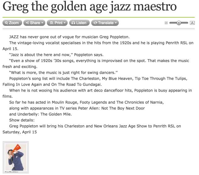Greg Poppleton article 1920s Penrith show
