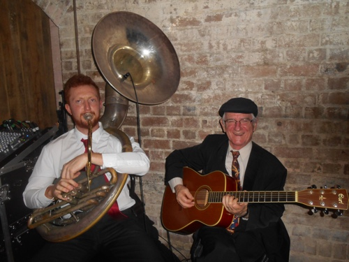 Greg Chilcott sousaphone and Grahame Conlon guitar with Greg Poppleton at Palmer and Co.