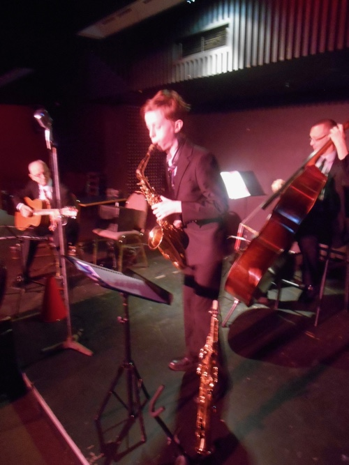 The Greg Poppleton 1920s-30s jazz swing trio with Damon Poppleton alto sax, Grahame Conlon guitar and Dave Clayton double bass.