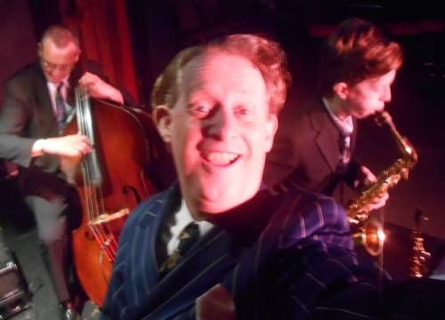 Greg Poppleton, authentic 1920s-30s singer and band leader with Damon Poppleton alto sax and Dave Clayton double bass.