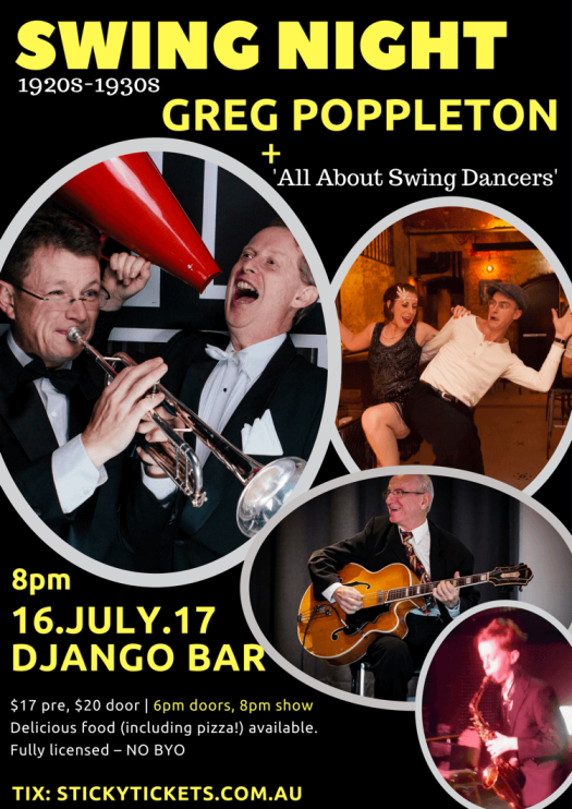 Swing Night with Greg Poppleton at Django Bar 8pm Sunday 16 July with All About Swing Dancers