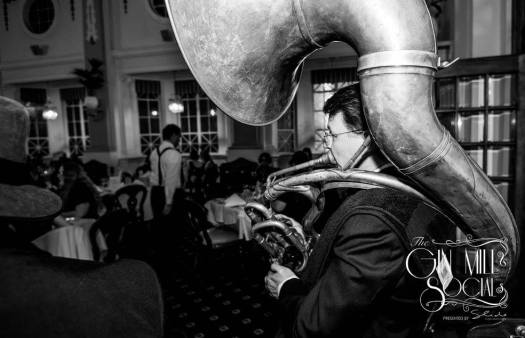 Geoff Power in Greg Poppleton's band. The sousaphone weighs 21 kg