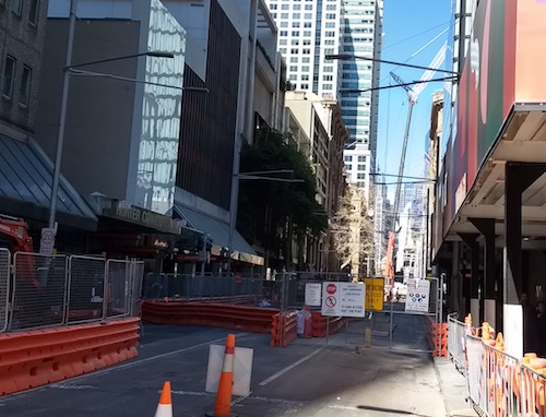 George St Sydney looking south from Wynyard, Sunday 27 August 2017