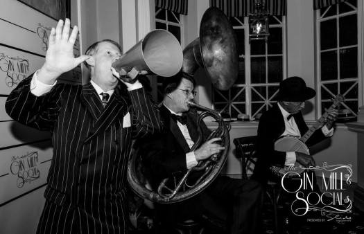 Greg Poppleton and his 1920s trio at the Gin Mill Social: Greg Poppleton singer, Geoff Power sousaphone doubling trumpet and Paul baker, banjo.