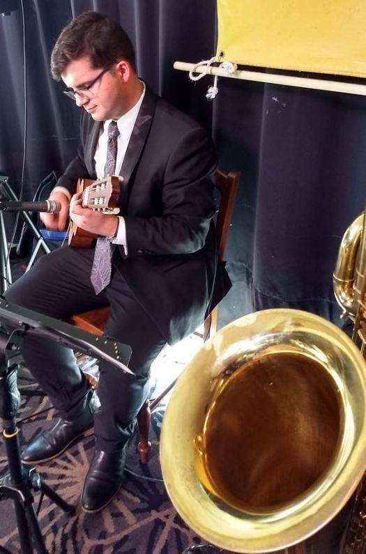 Michael Brady on the guitarlele doubling banjo
