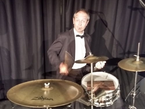 Keeping the beat on drum kit and washboard with the Greg Poppleton band was Adam Barnard.