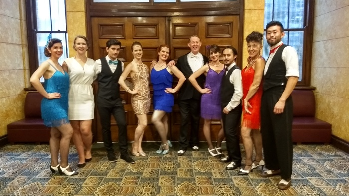 Here I'm posing in the foyer with the 'All About Swing' swing dance troupe. I'm standing next to one of the school's principals, Siobhan Ford