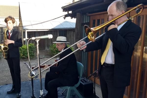 The Greg Poppleton 1920s - 1930s swing jazz band with Damon Poppleton alto sax, Grahame Conlon guitar and Al Davey trombone.