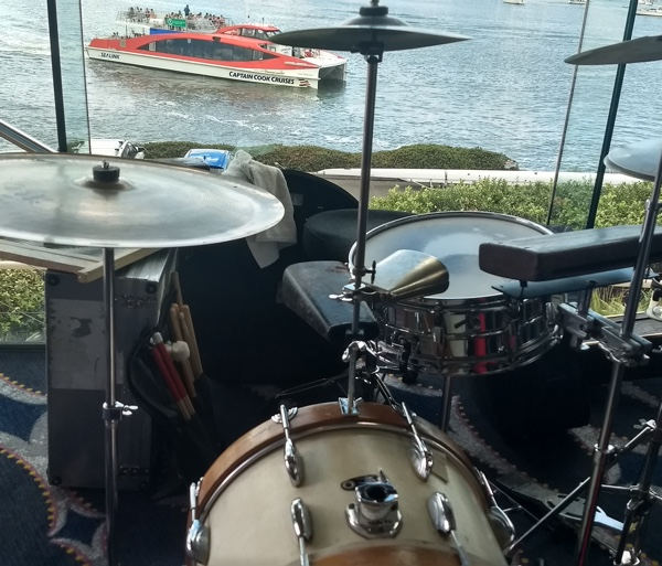 Drum kit, Parramatta River, Greg Poppleton band, 1920s - 30s swing and jazz at Sydney Rowing Club