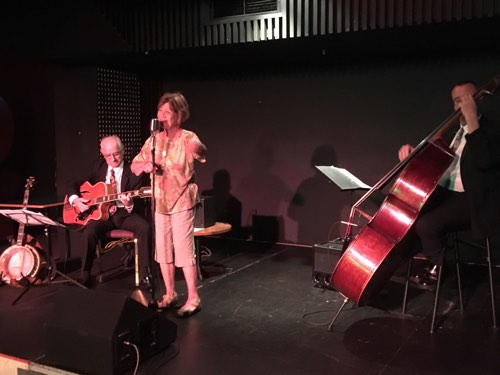 Marie Wilson singing with Grahame Conlon guitar and Dave Clayton double bass in the Greg Poppleton band.