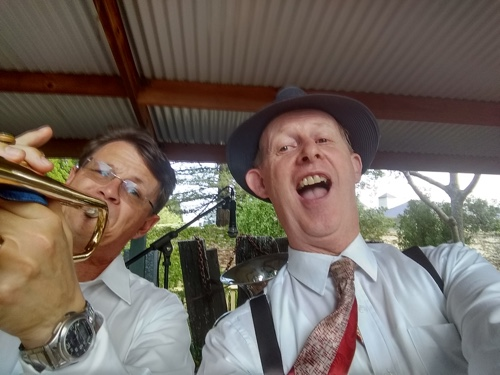 Greg Poppleton 1920s - 30s singer and Geoff Power trumpet at Jazz at the Pines