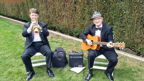 The Greg Poppleton duo playing the bride and groom's 1920s-30s jazz requests before the ceremony. Geoff Power trumpet. Grahame Conlon guitar.