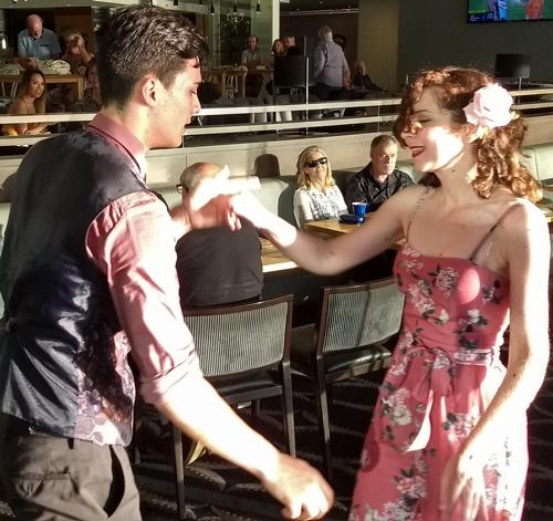 Cody and Lexie dancing to Greg Poppleton 1920s 1930s swing jazz band