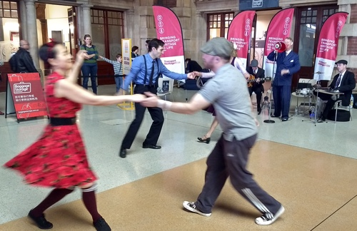 Swing dancers and the Greg Poppleton quartet