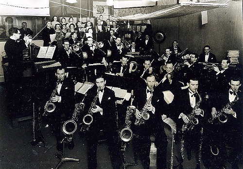 Jim Davidson with the ABC Dance Band and Wireless Chorus presenting 'Colour Canvas' from the Studios at 96 Market Street, Sydney, October, 1939