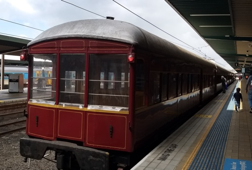The Observation car of the Hydro Express waiting at Sydney's Country Train Terminal