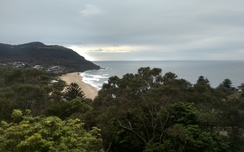 The view of Stanwell Park beach from the train