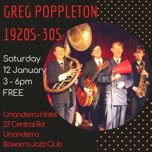 Greg Poppleton 1920s - 1930s singer and jazz band Unanderra Hotel 12 Jan 2019