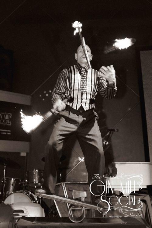Finhead juggles fires at Gin Mill Social