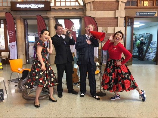Posing with Sandy (L) and Sue Ann (R), two of the wonderful swing dancers sliding and gliding to the Greg Poppleton band today.