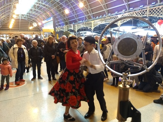 Swing dancing to Greg Poppleton in the beautiful, Edwardian Era Country Concourse
