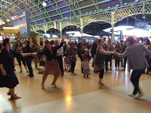 Swing dancing to Greg Poppleton's 1920s - 30s music at Sydney Central Station for Day 2 of the Transport Heritage Expo.