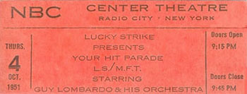 your hit parde guy lombardo ticket