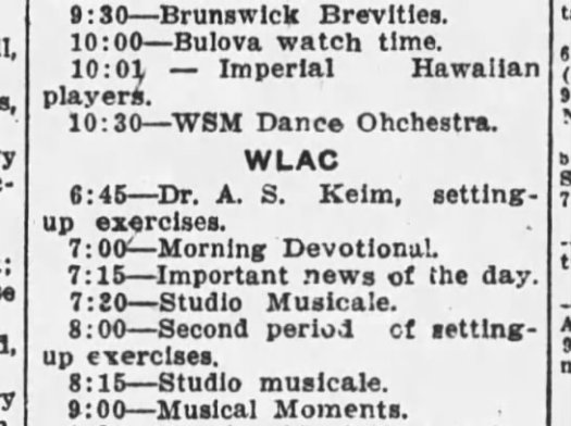 brunswick brevities wsm radio 1929