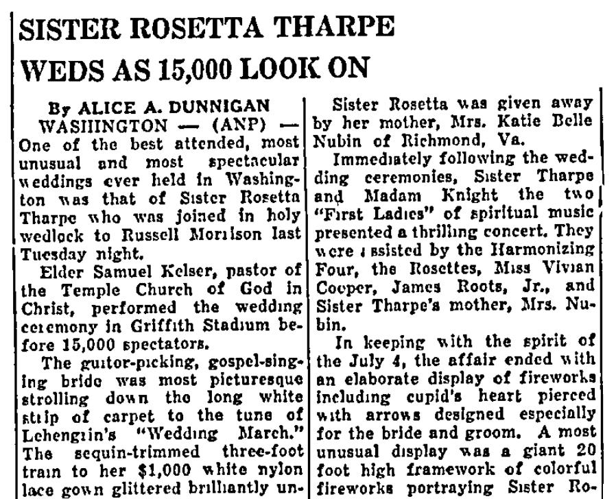 sister rosetta tharpe wedding